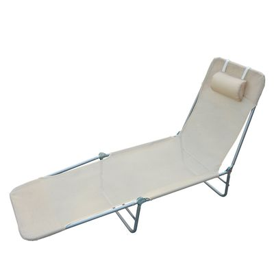 Outsunny Adjustable Back Relaxer Sun Bed Garden Lounger Recliner Chair Furniture Beige