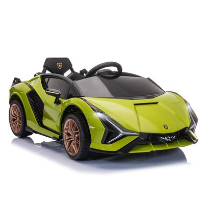 Aosom Compatible 12V Battery-powered Kids Electric Ride On Car Lamborghini SIAN Toy with Parental Remote Control Music Lights MP3 for 3-5 Years Old Green