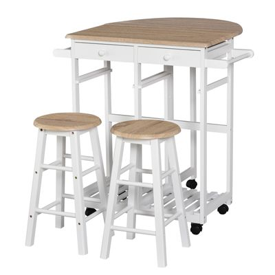 HOMCOM 3 Pieces Foldable Kitchen Trolley Island Set with Casters 2 Barstool Chairs Folding Table Drop Leaf Storable Bottom Apartment Dorm