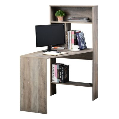 HOMCOM Nordic Style Wooden Computer Desk Workstation PC Laptop Writing Table with Hutches Storage Shelf Grey Wood Color