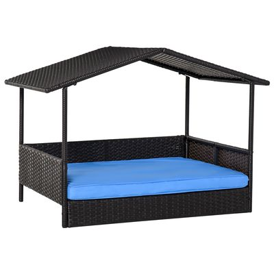 Outsunny PawHut Wicker Dog House Raised Rattan Dog Cat Bed for Indoor Outdoor Pet Sofa with Cushion Medium Sized Animal Lounge Blue