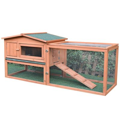PawHut Wooden Rabbit Hutch Bunny Cage Chicken Coop Guinea Pig House Pet Supply