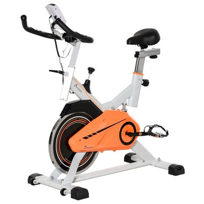 Soozier Upright Exercise Bike Indoor Cycling Stationary Bicycle with Adjustable Resistance Seat Handlebar LCD Display Home Gym