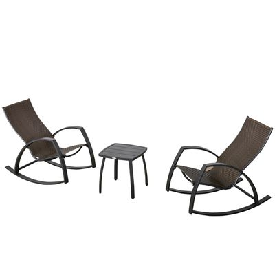 Outsunny 3 Pieces Outdoor Wicker Patio Bistro Set Rattan Set w/ 2 Rocking Chairs and Small Coffee Table, Garden Porch Poolside, Brown