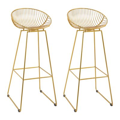 HOMCOM Counter Bar stools Set of 2, Modern Tall Bar Chairs for Kitchen with Backrest and Footrest, Steel Frame, Gold