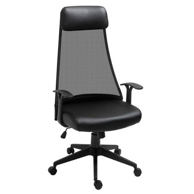 Vinsetto Executive Office Chair Mesh Faux Leather High Back Swivel Computer Desk Chair for Home (Black)
