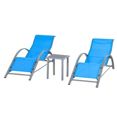 Outsunny 3 Pieces Patio Lounge Chair Set PE Rattan Wicker Beach Yard Garden Sunbathing Chair with Table, Blue