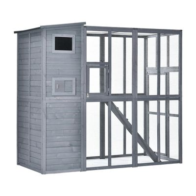 PawHut Large Wooden Outdoor Cat House with Large Run for Play, Catio for Lounging, and Condo Area for Sleeping, Grey