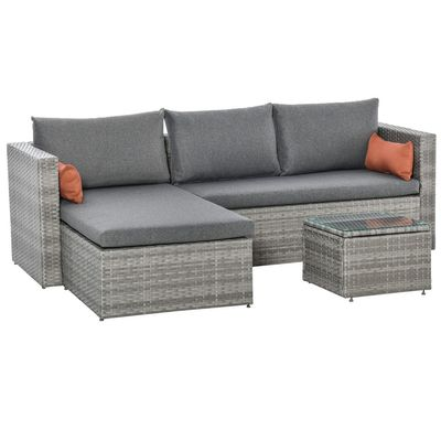 Outsunny 3-Piece Modern Outdoor Patio All-hand Woven Rattan Wicker Furniture Patio Coffee Table Sofa Set - Grey