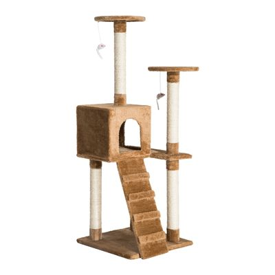 """PawHut D30-044 52"""" Multi-Level Tower Cat Tree Condo Furniture Kitty Scratching with Toy  Dark Beige"""