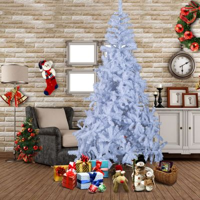 HOMCOM 6.9 ft Christmas Tree Gift Holiday Decoration with Stand White