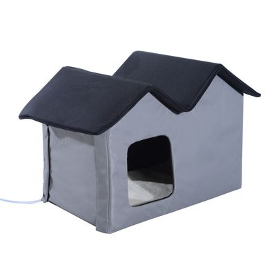 PawHut Winter Indoor Heated Double Wide Water-Resistant Cat Outdoor Shelter House Bed for Multiple Cats Small Animal Playpen Crate Kennel - Grey