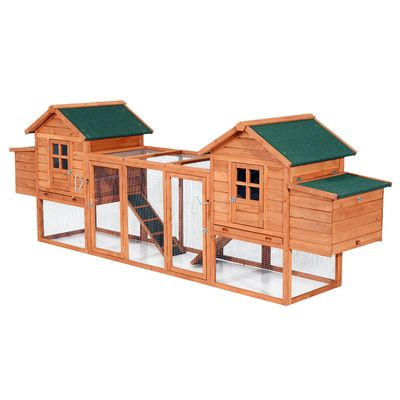 """PawHut 124"""" Dual Backyard Chicken Coops with Large Outdoor Run Ventilation Door Removable Tray and Ramp Garden Backyard Pet House Chicken Nesting Box"""