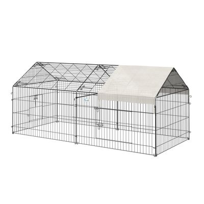 """PawHut 87"""" x 41"""" Galvanized Metal Outdoor Pet Enclosure with Removeable Protective Cover"""