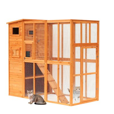 "PawHut 77"" x 38"" x 69"" Large Wooden Outdoor Cat Enclosure Catio Cage Small Animal Home with Ramp and Covered House"