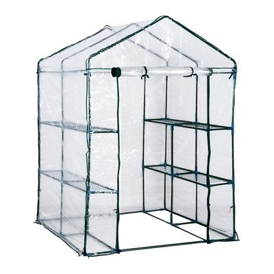 Outsunny 5'x5'x6' Portable Walk-In Greenhouse 8 Shelves Plant Flower Gardening House