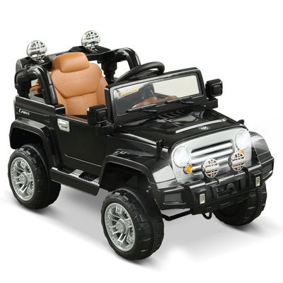 Aosom Ride On Car Toy Off Road Truck, Dual 6V Electric Battery Powered with Remote Control Lights MP3 LCD Power Indicator and MP3, Black