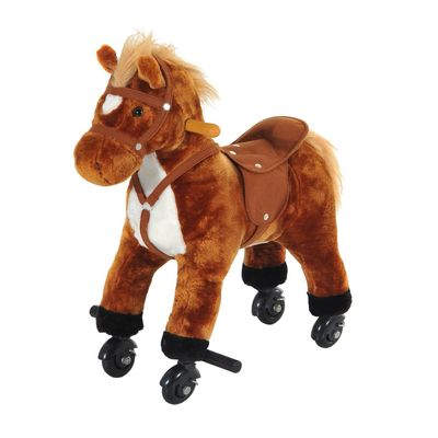 Qaba Kids Interactive Plush Mechanical Walking Ride On Horse Toy with Wheels - Brown