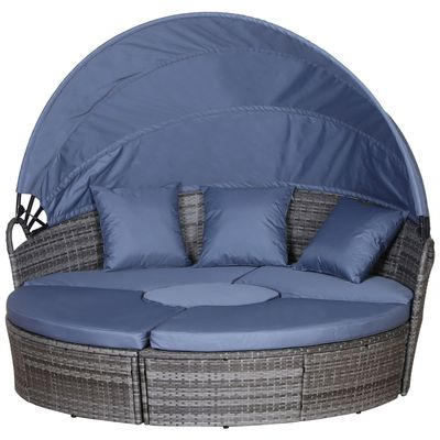 5 Piece Cushioned Outdoor Rattan Grey