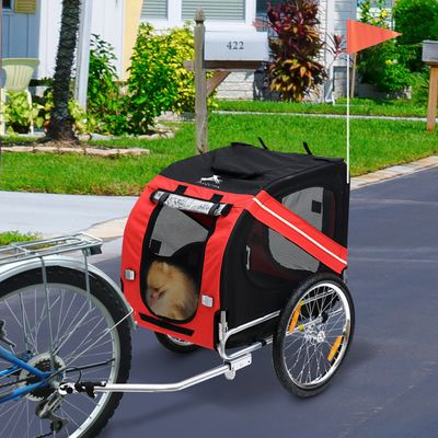 Aosom Elite Pet Dog Bike Trailer and Stroller with Red Safety Flag / Type 'A' Hitch and Leash Hook - Red / Black