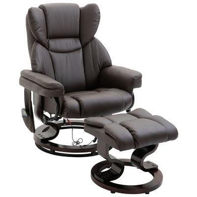 HOMCOM Massage Recliner Chair with Footrest - 10 Vibration Levels - Faux Leather - Brown