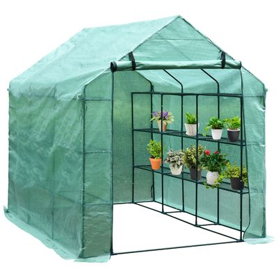 Outsunny Portable Greenhouse Walk In Green House Outdoor Year Around Plant Gardening 8' x 6' x 7'