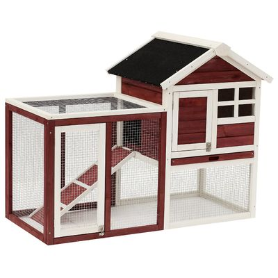 """PawHut 48"""" Weatherproof Wooden Rabbit Hutch with Slant Roof and Screened Outdoor Run"""