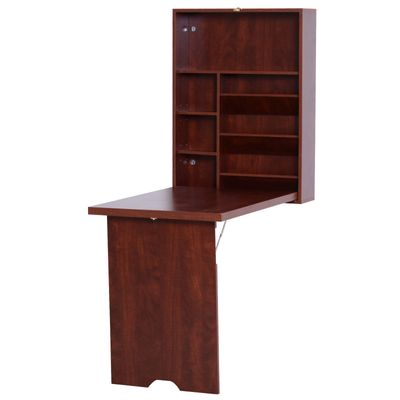 HomCom Compact Fold Out Wall Mounted Convertible Desk with Storage - Mahogany
