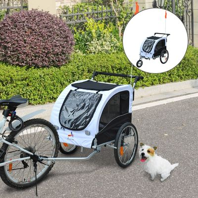Aosom Elite II 2-In-1 Pet Dog Bike Trailer and Stroller with Suspension and Storage Pockets - White