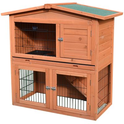 """PawHut 40"""" 2 Story Multi-Level Outdoor Rabbit / Small Animal Enclosure with Ramp and Pull-Out Tray"""