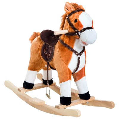 Qaba Kids Plush Toy Rocking Horse Ride on with Realistic Sounds and Moving Tail - Brown