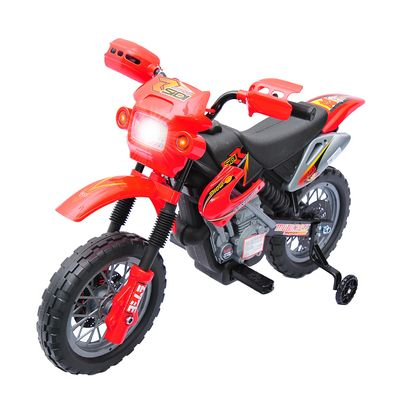 Aosom 6V Kids Electric Battery-Powered Ride-On Motorcycle Outdoor Recreation Dirt Bike Toy with Training Wheels for 3 - 6 Years Old Girls Boys - Red