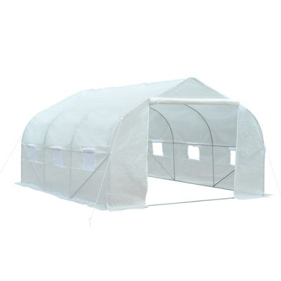 Outsunny 11.5' x 10' x 6.5' Outdoor Portable Walk-In Tunnel Greenhouse with Roll-up Windows & Zippered Entrance - White