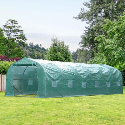 Outsunny 26' x 10' x 6.5' Large Outdoor Heavy Duty Walk-In Greenhouse - Green