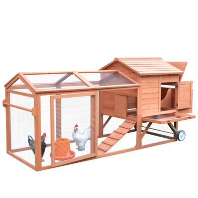 """PawHut 98"""" Portable Wooden Chicken Coop with Wheels, Outdoor Run and Nesting Box"""