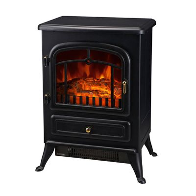 """HOMCOM 16"""" 1500W Compact Freestanding Electric Wood Stove Fireplace Heater With Realistic Flames - Black"""