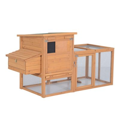 """PawHut 75"""" Wooden Hen House Backyard Chicken Coop with Outdoor Run and Nesting Box - Natural Wood"""
