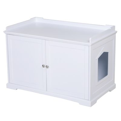 """PawHut 37.5"""" Wooden Covered Mess Free Cat Litter Box End Table Hideaway Cabinet With Storage - White"""