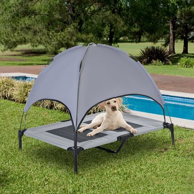 """PawHut 36"""" x 30"""" Elevated Portable Dog Cot Cooling Pet Bed with UV Protection Canopy Shade"""