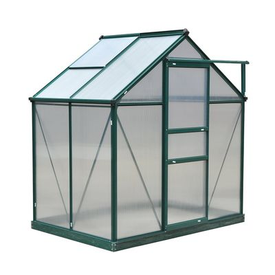 Outsunny 6'x4'x7' Twin Wall Walk-in Garden Greenhouse Polycarbonate Panels Plants Flower Growth Shed Outdoor Warm House Portable Aluminum Frame