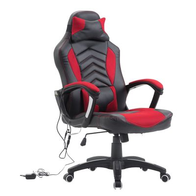 HomCom Heated Racing Computer Chair Ergonomic Swivel Gaming Chair with Lumbar Support - Red/Black