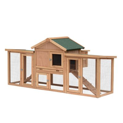 """Pawhut 82"""" Large Outdoor Wooden Backyard Hen House Chicken Coop Small Animal House Pet Cage Waterproof Roof Removable with Tray and Ramp - Wood"""