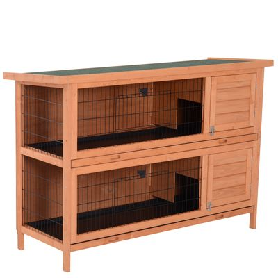 """PawHut 54"""" Raised Dual Outdoor Wooden Rabbit Hutch Animal Cage with Removable Dividers and Pull-Out Trays"""