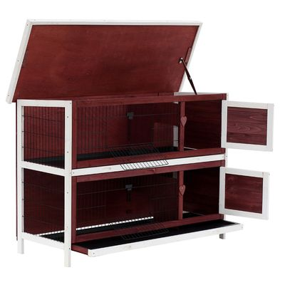 """PawHut 54"""" 2-Story Weatherproof Stackable Elevated Wooden Rabbit Hutch with Enclosed Run and Pull-Out Trays"""