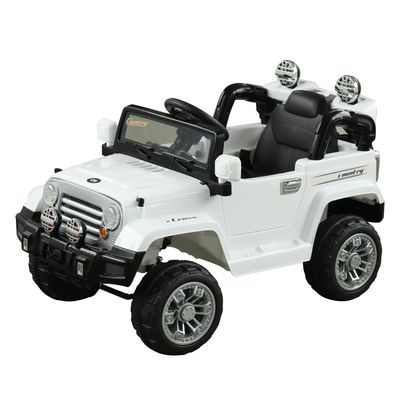 Aosom 12V Kids Jeep Ride On Car with Remote Control Speeds Lights MP3 LCD Power Indicator Adjustable Speed 3-8 Years Old - White