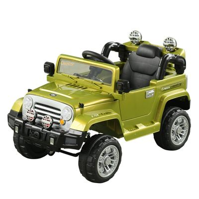 Aosom 12V Kids Battery Powered Off Road Truck with Remote Control Speeds Lights MP3 LCD Power Indicator Adjustable Speed- Green