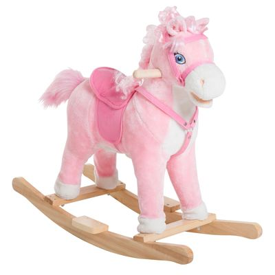 Qaba Kids Plush Toy Rocking Horse Ride on with Realistic Sounds and Moving Tail - Pink
