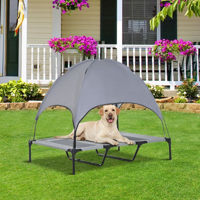 """PawHut 48"""" x 36"""" Elevated Portable Dog Cot Cooling Pet Bed with UV Protection Canopy Shade"""