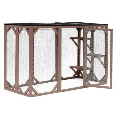 Pawhut Outdoor 3 Platforms Wooden Frame Cat Cage Pet House Small Animal Shelter Home