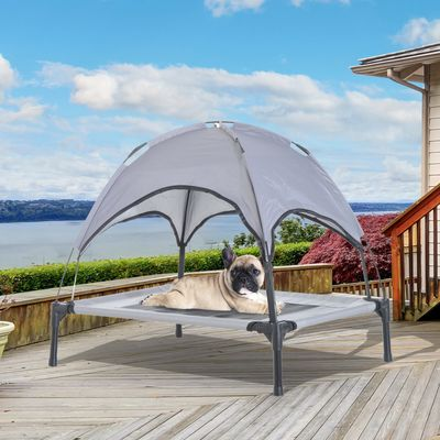 """PawHut 30"""" x 24"""" Elevated Portable Dog Cot Cooling Pet Bed with UV Protection Canopy Shade"""